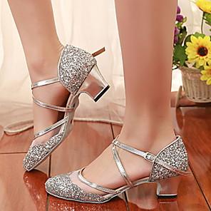cheap Wedding Shoes-Women's Dance Shoes Mesh Modern Shoes Heel Slim High Heel Black / Gold / Silver / Practice