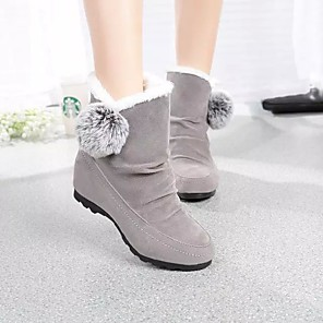 cheap Women's Boots-Women's Boots Snow Boots Flat Heel Round Toe Pom-pom Satin Winter Black / Burgundy / Gray