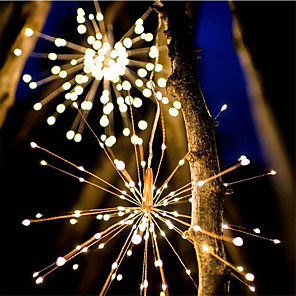 cheap Pathway Lights-Waterproof 40 Branches 200LED Solar Power Hanging Starburst Lights LED Fireworks lamp LED Broom Copper Wire Warm White Lantern Creative Party Festival Decor