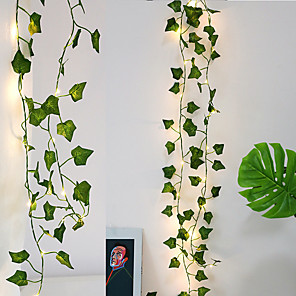 cheap LED String Lights-4X 2M Artificial Plants Led Fairy String Light Creeper Green Leaf Ivy Vine Lights For Home Wedding Decor Lamp DIY Hanging Garden Yard Decor Lighting (come without battery)