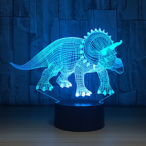 cheap 3D Night Lights-Herbivorous 3D Dinosaur LED Lamp Night Lights Novelty Illusion LED Night Lamp with USB Cable Birthday Christmas Party Gift