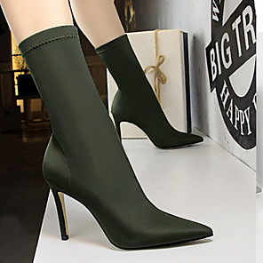 cheap Women's Boots-Women's Boots Stiletto Heel Pointed Toe Tissage Volant Mid-Calf Boots Business / Minimalism Spring &  Fall / Fall & Winter Black / Almond / Green / Party & Evening