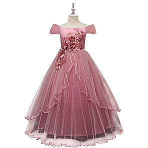 cheap Historical & Vintage Costumes-Kids Girls' Floral Dress Blushing Pink