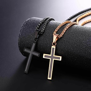 cheap Men's Necklaces-Men's Pendant Necklace Rope franco chain Cross Dangling Stainless Steel Rose Gold Black Gold Silver 55 cm Necklace Jewelry 1pc For Gift Daily