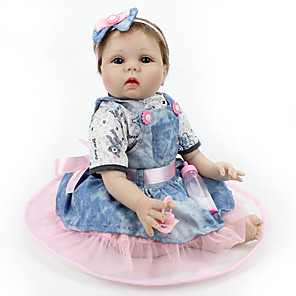 cheap Reborn Doll-NPK DOLL 22 inch Reborn Doll Ball-joined Doll / BJD Reborn Toddler Doll Interactive Doll Baby Girl Safety Gift Cute Cloth 3/4 Silicone Limbs and Cotton Filled Body with Clothes and Accessories for