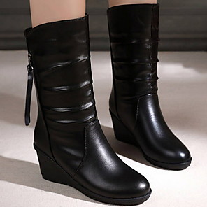 cheap Women's Boots-Women's Boots Fall & Winter Flat Heel Round Toe Daily Solid Colored PU Mid-Calf Boots Black