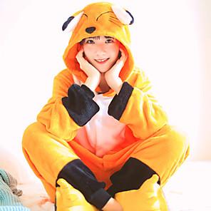 cheap Kigurumi Pajamas-Adults' Kigurumi Pajamas Fox Onesie Pajamas Flannelette Orange Cosplay For Men and Women Animal Sleepwear Cartoon Festival / Holiday Costumes