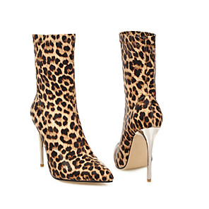 cheap Earrings-Women's Boots Plus Size Stiletto Heel Pointed Toe Daily Party & Evening Synthetics Mid-Calf Boots Leopard / Black / Silver