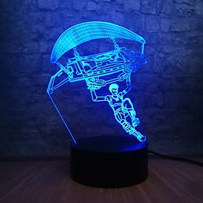 cheap 3D Night Lights-3D LED Night Light Battle Royale Game TPS Parachute RGB Lighting 7 Colors Change Cool Boy Room Decoration Holiday Gift Boy Toys