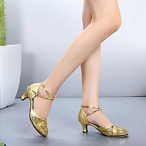 זול נעלי ריקודים ונעלי ריקוד מודרניות-בגדי ריקוד נשים נעליים מודרניות עקבים עקב עבה עור שחור / אדום / זהב / הצגה