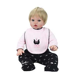 cheap Stuffed Animals-NPK DOLL 22 inch Reborn Doll Reborn Toddler Doll Baby Boy Baby Girl Safety Gift Cute Cloth 3/4 Silicone Limbs and Cotton Filled Body with Clothes and Accessories for Girls' Birthday and Festival Gifts