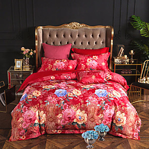 cheap Duvet Cover Sets-Duvet Cover Sets Floral / Botanical Poly / Cotton Printed & Jacquard 4 PieceBedding Sets