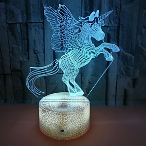 cheap 3D Night Lights-Unicorn 3D Nightlight For Children Creative Birthday USB 1pc