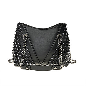 cheap Handbag & Totes-Women's Rivet PU Top Handle Bag Solid Color Black
