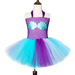 cheap Movie & TV Theme Costumes-Kids Toddler Girls' Vintage Sweet The Little Mermaid Color Block Check Cut Out Drawstring Sleeveless Knee-length Dress Purple
