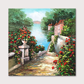 cheap Landscape Paintings-Oil Painting Hand Painted - Floral / Botanical Abstract Landscape Modern Rolled Canvas