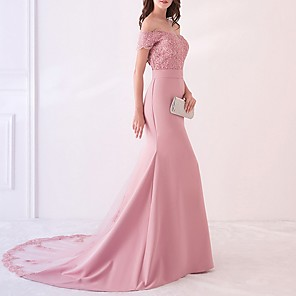 cheap Bridesmaid Dresses-Mermaid / Trumpet Beautiful Back Pink Engagement Formal Evening Dress Off Shoulder Short Sleeve Court Train Polyester with Pattern / Print Appliques 2020
