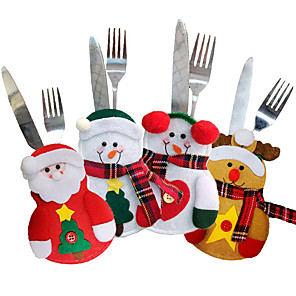 cheap Christmas Decorations-4PCS Holiday Tableware Sets Christmas Knife And Fork Bags