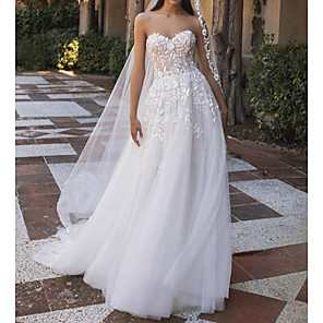 cheap Latin Dancewear-A-Line Wedding Dresses Sweetheart Neckline Sweep / Brush Train Tulle Strapless Country Beach Illusion Detail with Appliques 2020