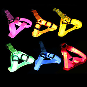 cheap Dog Clothes-Dog Light Up Harness LED Lights Adjustable / Retractable Solid Colored Nylon Yellow Red