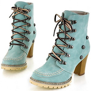 cheap Women's Boots-Women's Boots Chunky Heel Round Toe Suede Mid-Calf Boots Fall & Winter Blue / Pink / Beige