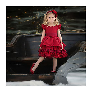 cheap Girls' Dresses-Kids Girls' Solid Colored Sleeveless Knee-length Dress Red