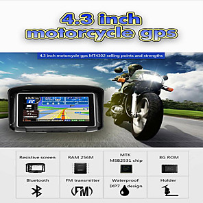 cheap Doorbell Systems-4.3 inch Waterproof IPX7 Motorcycle GPS Navigation MOTO Navigator With FM Bluetooth 8G Flash Prolech Car GPS Tracker WIN CE Support A2DP Earphone+Free Map