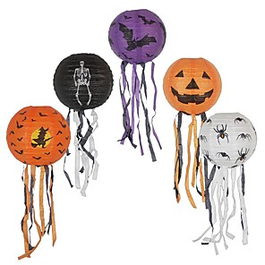 cheap Halloween Party Supplies-5pcs Paper Halloween Lanterns With Tassel Wall Home Hanging Masquerade Lantern For Party Festival Decoration