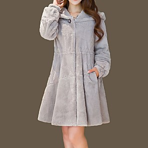 cheap Wedding Wraps-Women's Daily Winter Regular Faux Fur Coat, Solid Colored Hooded Long Sleeve Faux Fur Black / White / Blushing Pink