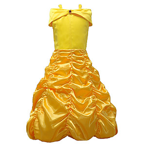 cheap Movie & TV Theme Costumes-Princess Belle Dress Cosplay Costume Masquerade Girls' Movie Cosplay A-Line Slip Cosplay Halloween Yellow Dress Halloween Children's Day Masquerade Poly / Cotton Blend