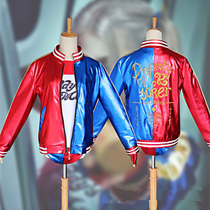 cheap Anime Costumes-Inspired by Suicide Squad Harley Quinn Anime Cosplay Costumes Japanese Cosplay Suits Coat Gloves Shorts For Women's / T-shirt / T-shirt
