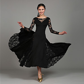 cheap Ballroom Dancewear-Ballroom Dance Dress Lace Women's Performance Long Sleeve Natural Lace Milk Fiber