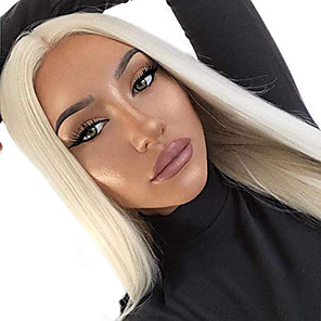 cheap Synthetic Lace Wigs-Synthetic Lace Front Wig Straight Free Part Wig Blonde Long Blonde Synthetic Hair 18-26 inch Women's Soft Elastic Women Blonde / Glueless
