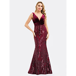 cheap Evening Dresses-Mermaid / Trumpet Sexy Red Engagement Formal Evening Dress V Neck Sleeveless Floor Length Sequined Velvet with Sequin Appliques 2020