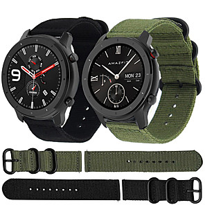 cheap Smartwatch Bands-Nylon Canvas Watch Band Wrist Strap for Xiaomi Huami Amazfit GTR 47mm / Amazfit Stratos 2/2S / Amazfit Pace Smart Watch Bracelet Wristband Replaceable Accessories