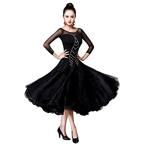 cheap Ballroom Dancewear-Ballroom Dance Dress Lace Split Joint Crystals / Rhinestones Women's Training Performance 3/4 Length Sleeve Chinlon Mesh Spandex