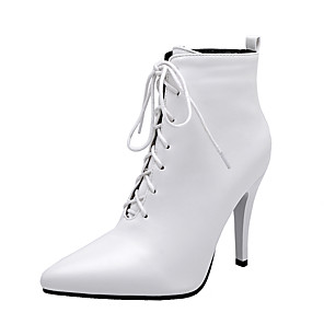 cheap Women's Boots-Women's Boots Stiletto Heel Pointed Toe PU Booties / Ankle Boots Classic Fall & Winter Black / White / Red / Party & Evening