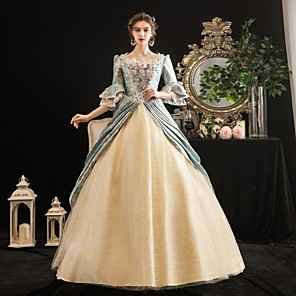 cheap Historical & Vintage Costumes-Maria Antonietta Rococo Baroque Victorian Dress Party Costume Masquerade Women's Lace Costume LightBlue Vintage Cosplay Party Halloween Party & Evening Floor Length Ball Gown Plus Size