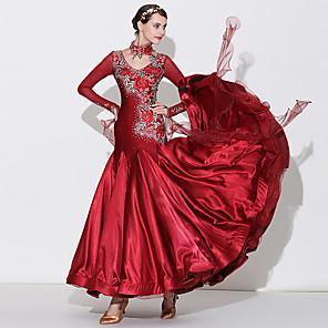 cheap Dancewear-Ballroom Dance Dress Appliques Split Joint Crystals / Rhinestones Women's Performance Long Sleeve High Spandex Tulle Imitation Silk