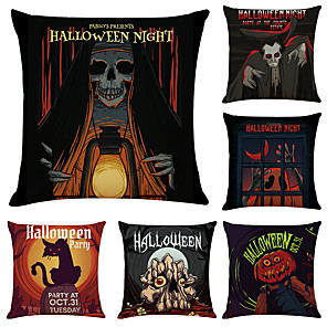 cheap Sale-Set of 6 Halloween Night Linen Square Decorative Throw Pillow Cases Sofa Cushion Covers 18x18