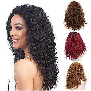 cheap Synthetic Trendy Wigs-Synthetic Wig Afro Curly Water Wave Rihanna Middle Part Wig Burgundy Medium Length Black#1B Golden Brown Strawberry Blonde Light Blonde Dark Wine Synthetic Hair 18 inch Women's Heat Resistant Classic