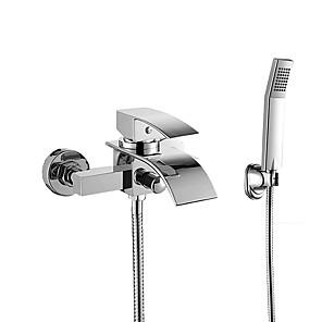 cheap Bathtub Faucets-Bathtub Faucet - Contemporary Chrome Wall Mounted Ceramic Valve Bath Shower Mixer Taps