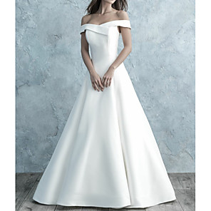 cheap Wedding Dresses-A-Line Wedding Dresses Off Shoulder Floor Length Satin Short Sleeve Simple Backless with Buttons 2020