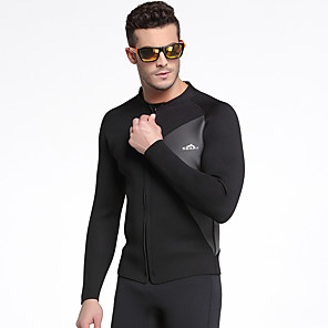 cheap Wetsuits, Diving Suits & Rash Guard Shirts-Men's Wetsuit Top Wetsuit Jacket 3mm SCR Neoprene Jacket Diving Suit Top Thermal / Warm Long Sleeve Front Zip - Surfing Snorkeling Watersports Solid Colored Autumn / Fall / Stretchy