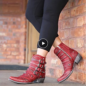 cheap Women's Boots-Women's Boots Comfort Shoes Cowboy / Western Boots Fall & Winter Chunky Heel Pointed Toe Daily Rivet PU Mid-Calf Boots Red / Black
