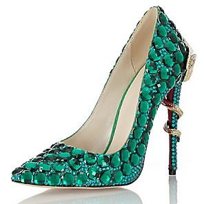 cheap Women's Heels-Women's Heels Summer Stiletto Heel Pointed Toe Daily Rhinestone Leather Green