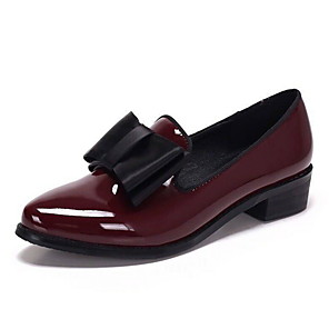 cheap Women's Sandals-Women's Loafers & Slip-Ons Low Heel Round Toe PU Fall & Winter Black / Burgundy / Daily