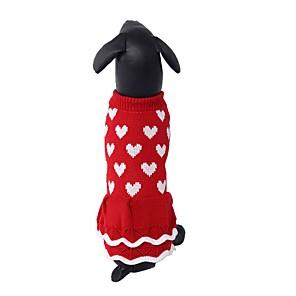 cheap Dog Clothes-Dogs Sweater Dress Dog Clothes Red Costume Dalmatian Corgi Shiba Inu Acrylic Fibers Love Dresses&Skirts Sweet XS S M L XL XXL