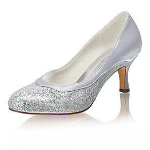 cheap Wedding Shoes-Women's Wedding Shoes Spool Heel Round Toe Sequin Satin / Synthetics Spring &  Fall / Summer Silver / Party & Evening