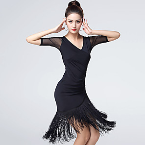 cheap Latin Dancewear-Latin Dance Dress Tassel Women's Training Performance Half Sleeve Natural Ice Silk